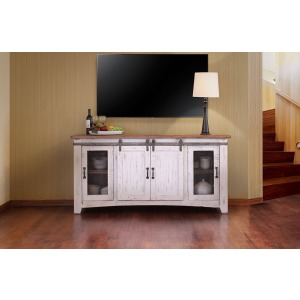"Pueblo White 70"" TV Stand w/4 Doors & Shelves"