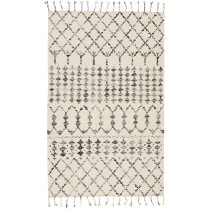 Adair Riot Handmade Geometric Ivory/ Black Area Rug (5'X8')