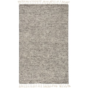 Alpine Alpine Hand-Knotted Stripe White/ Gray Area Rug (5'X8')