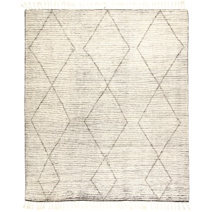 Alpine Ammil Hand-Knotted Trellis Cream/ Black Area Rug (5'X8')