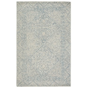 Almira Carmen Handmade Trellis Blue/ Light Gray Area Rug (5'X8')
