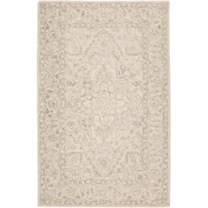 Almira Lena Handmade Medallion Light Gray/ Cream Area Rug (5'X8')