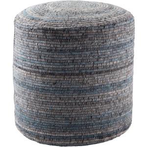 Amarillo Duro Stripes Light Blue/ Gray Cylinder Pouf