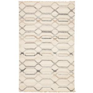 Anatolia Laveer Handmade Trellis Ivory/ Light Gray Area Rug (5'X8')