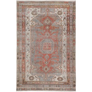 "Boheme Palazza Medallion Gray/ Orange Area Rug (7'10""X9'10"")"