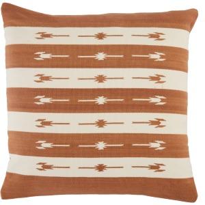 Emani Vanda Stripes Terracotta/ Cream Down Throw Pillow 22 inch