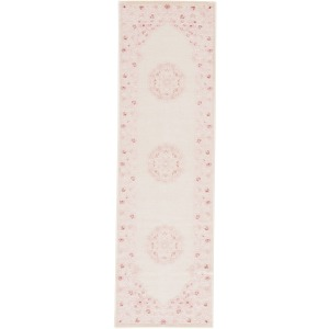 Fables Malo Medallion Pink/ White Runner Rug (2'6