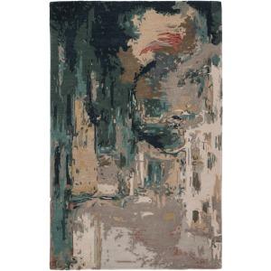 Genesis Luella Handmade Abstract Teal/ Gray Area Rug (8'X11')