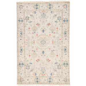 Jaipur Revival Hacci Hand-Knotted Floral Cream/ Blue Area Rug (5'X8')