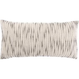 Mercado Linnean Stripe White/ Gray Polyester Throw Pillow 12X24 inch