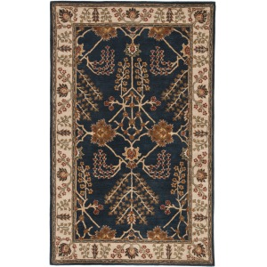 Poeme Chambery Handmade Floral Blue/ Multicolor Area Rug (5'X8')