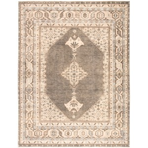 Salinas Farwell Hand-Knotted Medallion Blue/ Ivory Area Rug (8'X10')