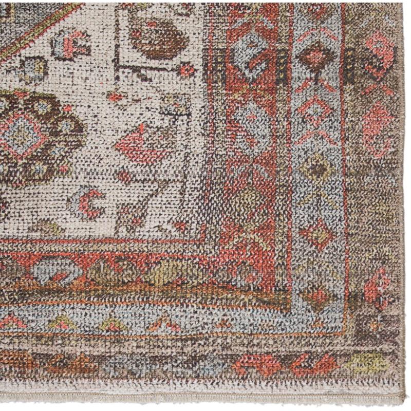 Boheme Palazza Medallion Gray/ Orange Area Rug (7'10