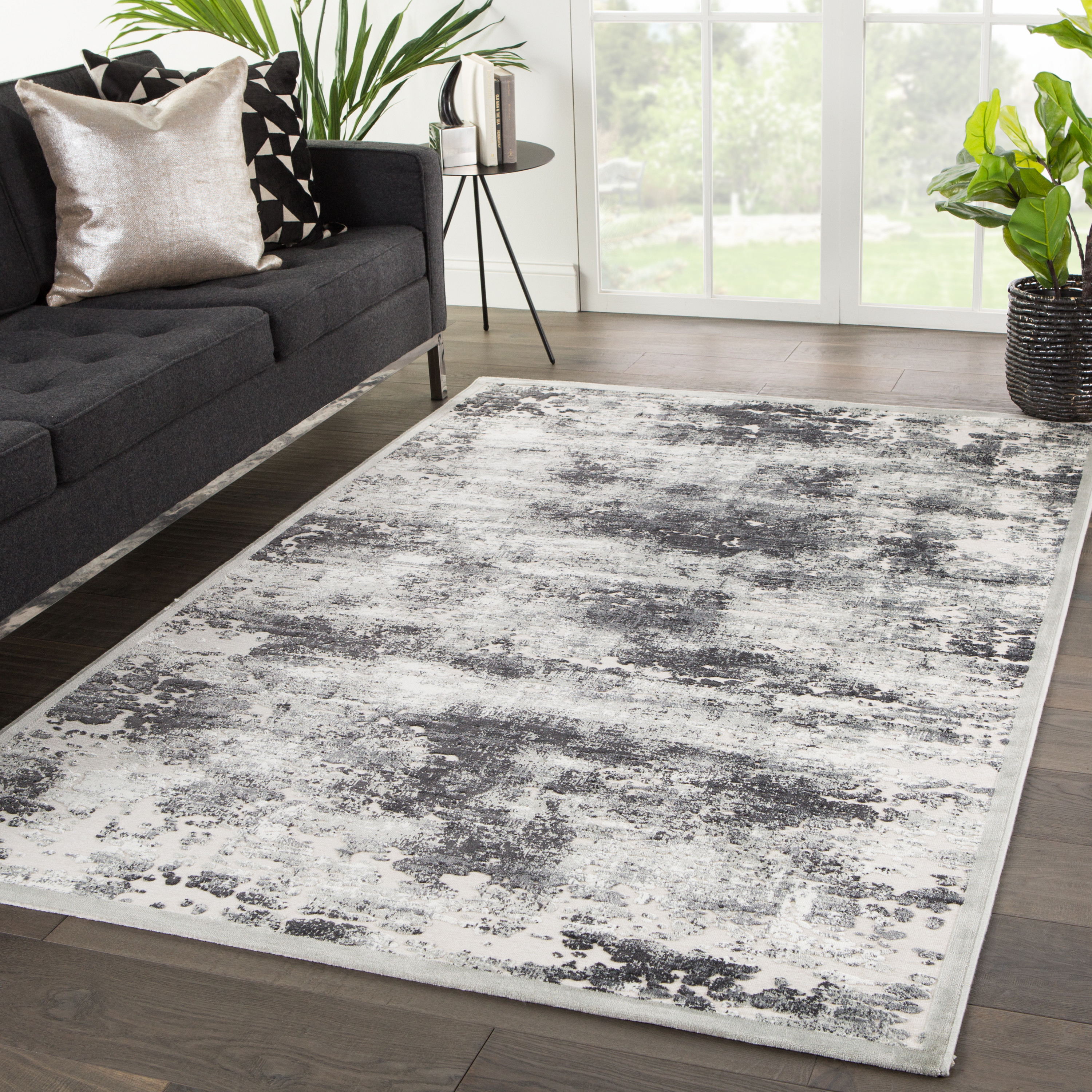 Fables Trista Abstract Gray White Area Rug 7 6 X9 6 By Jaipur Living Nis870758587 Designer Furniture Gallery