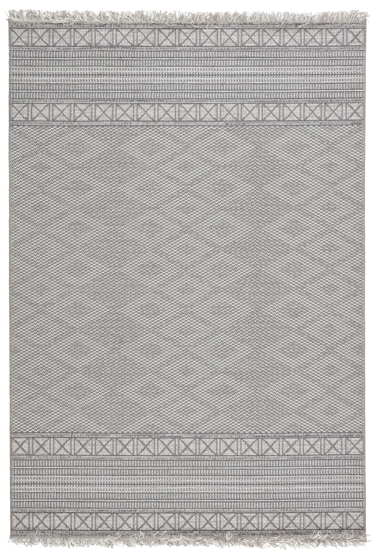 Tikal Ramos Indoor Outdoor Border Gray Light Gray Area Rug 4 X5 7 By Jaipur Living Nis543764227 Designer Furniture Gallery