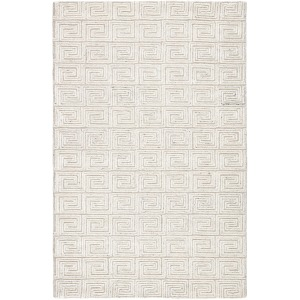 Capital Harkness Handmade Geometric White/Gray Area Rug - 5'X8'