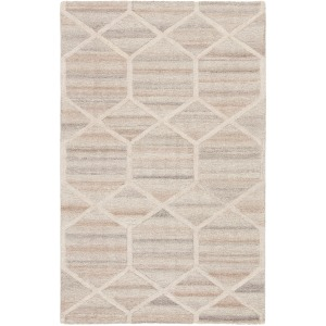 City Cleveland Handmade Geometric Gray/Cream Area Rug - 5'X8'