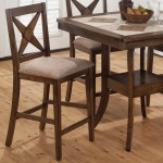 Tucson Brown  Counter Height X-Back Stool with Padded Seat