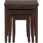 Urban Lodge Brown Casual Three Piece Set of Nesting Tables with Tapered Block Legs