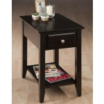 Espresso Casual Espresso Chairside End Table with Drawer  Shelf