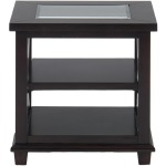 Panama Brown Contemporary Beveled Glass End Table with Concentric Circle Design