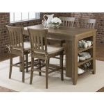 Slater Mill Pine Counter Height Storage Table with Stool Set