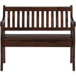Urban Lodge Brown Storage Bench with Slat Back