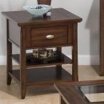 Bellingham Brown End Table w Drawer  2 Shelves