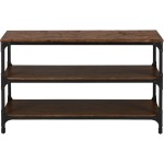Urban Nature Sofa Table with Steel and Pine Construction