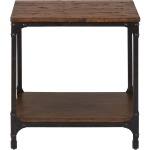 Urban Nature Square End Table with Steel and Pine Construction
