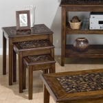 Baroque Brown 3-Piece Nesting Chairside Table with Mosaic Tile Inlay