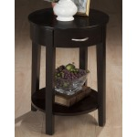 Dark Merlot Contemporary Round Chairside Table with Drawer and Shelf