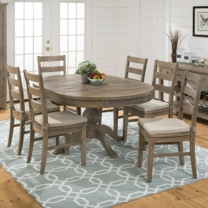 Slater Mill Pine Oval Table and Ladderback Chair Set