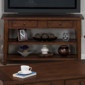 Clay County Oak SofaMedia Table with 2 Drawers