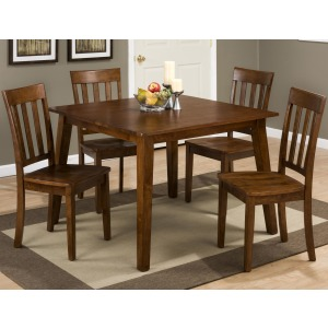 Simplicity Square Table and 4 Chair Set with Slat Back Chairs