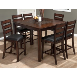Baroque Brown Pub Table and Slat Back Chair Set