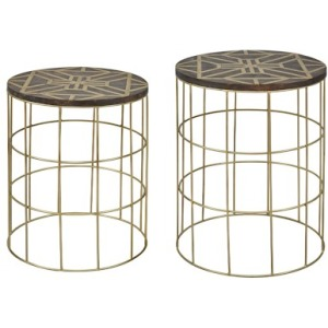 Global Archive Mango and Brass Accent Tables