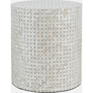 Global Archive Capri Small Round Table - Grey Basketweave