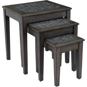 Grey Mosaic Nesting Tables - Set of 3