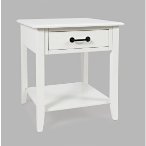 North Fork End Table with Drawer - White