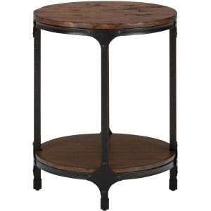 Urban Nature Round Chairside Table with Steel and Pine Construction