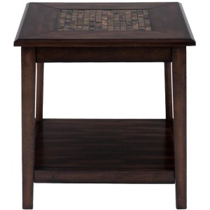 Baroque Brown Dark Brown Mosaic Inlay End Table