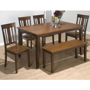Kura Espresso and Canyon Gold Solid Rubberwood Rectangle Table Set with 4 Triple Upright Chairs