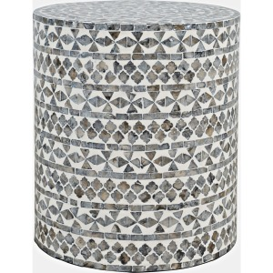 Global Archive Capri Small Round Table - Grey Tribal