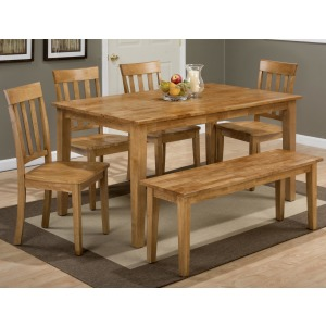 Simplicity Rectangle Dining Table and X Back Chair Set with Bench