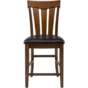 Plantation Slat Back Stool with Upholstered Seat