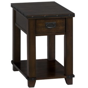 Cassidy Brown Traditional Plank Top Chairside Table with Drawer and Shelf