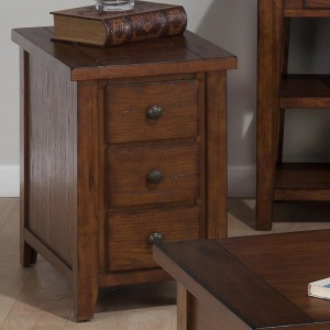 Clay County Oak Chairside Table with 3 Drawers
