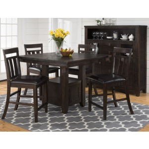 5pc Kona Grove Counter Table With Storage Base And Chairs Set