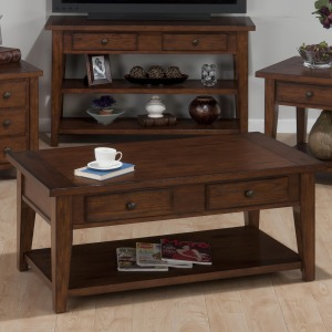 Clay County Oak Double Header Cocktail Table with 4 Drawers